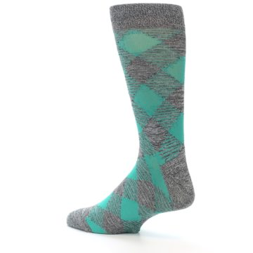 Image of Grey Teal Diamonds Men's Dress Socks (side-2-back-14)
