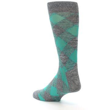 Image of Grey Teal Diamonds Men's Dress Socks (side-2-back-15)