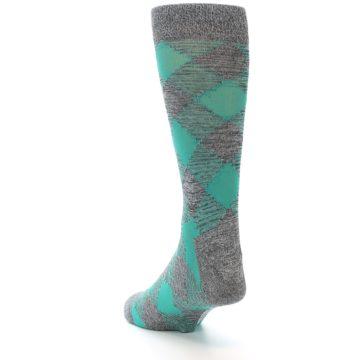 Image of Grey Teal Diamonds Men's Dress Socks (side-2-back-16)