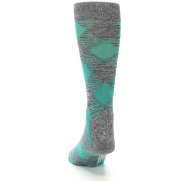 Image of Grey Teal Diamonds Men's Dress Socks (back-17)