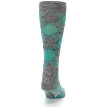 Image of Grey Teal Diamonds Men's Dress Socks (back-19)