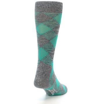 Image of Grey Teal Diamonds Men's Dress Socks (side-1-back-20)