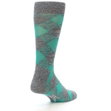 Image of Grey Teal Diamonds Men's Dress Socks (side-1-back-21)