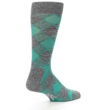 Image of Grey Teal Diamonds Men's Dress Socks (side-1-back-22)