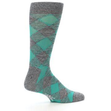 Image of Grey Teal Diamonds Men's Dress Socks (side-1-23)