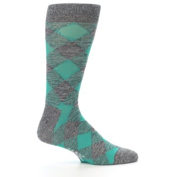 Image of Grey Teal Diamonds Men's Dress Socks (side-1-24)