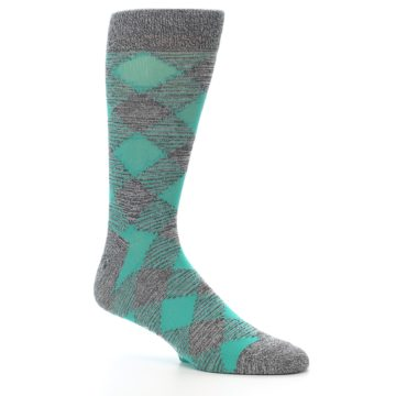 Image of Grey Teal Diamonds Men's Dress Socks (side-1-26)