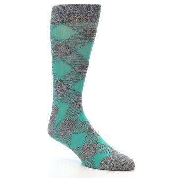 Image of Grey Teal Diamonds Men's Dress Socks (side-1-27)