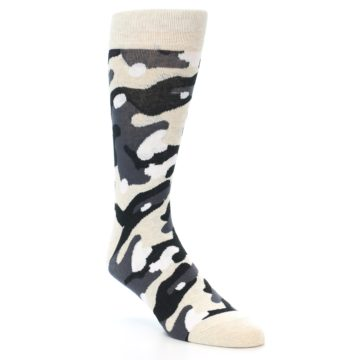 Image of Light-Khaki Grey Black Camo Men's Dress Socks (side-1-front-02)