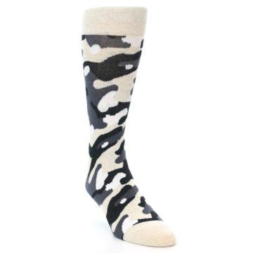 Image of Light-Khaki Grey Black Camo Men's Dress Socks (side-1-front-03)