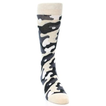 Image of Light-Khaki Grey Black Camo Men's Dress Socks (front-04)