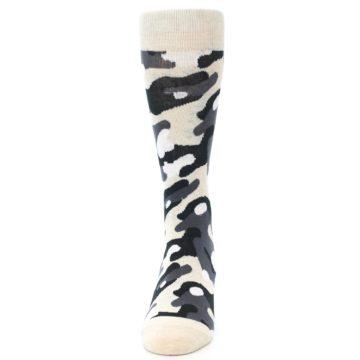 Image of Light-Khaki Grey Black Camo Men's Dress Socks (side-2-front-06)