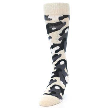 Image of Light-Khaki Grey Black Camo Men's Dress Socks (side-2-front-07)