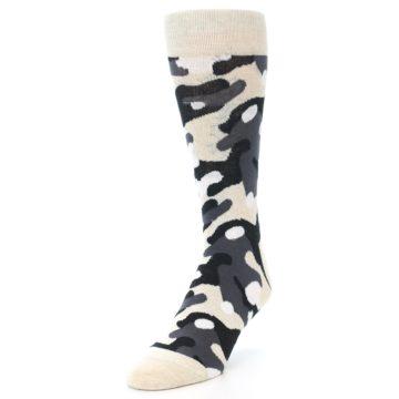 Image of Light-Khaki Grey Black Camo Men's Dress Socks (side-2-front-08)