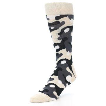 Image of Light-Khaki Grey Black Camo Men's Dress Socks (side-2-09)