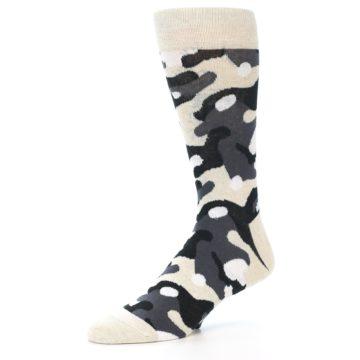 Image of Light-Khaki Grey Black Camo Men's Dress Socks (side-2-10)