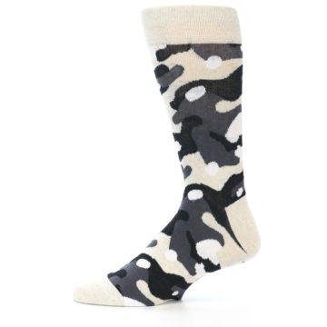 Image of Light-Khaki Grey Black Camo Men's Dress Socks (side-2-12)