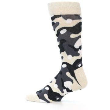 Image of Light-Khaki Grey Black Camo Men's Dress Socks (side-2-13)