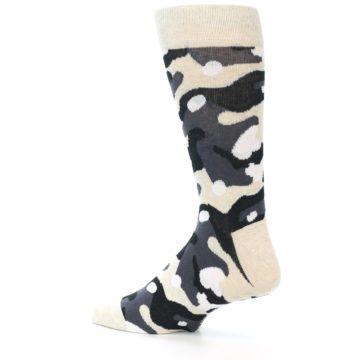 Image of Light-Khaki Grey Black Camo Men's Dress Socks (side-2-back-14)