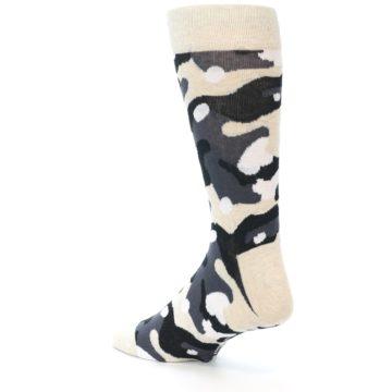 Image of Light-Khaki Grey Black Camo Men's Dress Socks (side-2-back-15)
