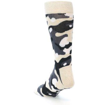 Image of Light-Khaki Grey Black Camo Men's Dress Socks (side-2-back-16)