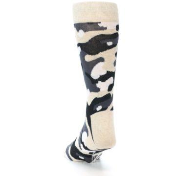 Image of Light-Khaki Grey Black Camo Men's Dress Socks (back-17)