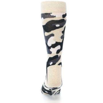 Image of Light-Khaki Grey Black Camo Men's Dress Socks (back-18)