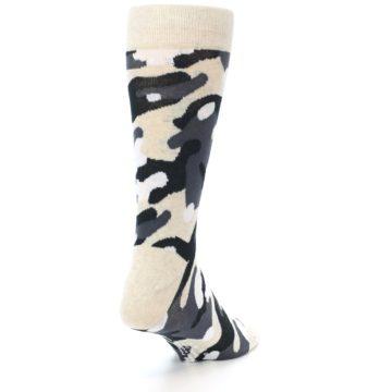 Image of Light-Khaki Grey Black Camo Men's Dress Socks (side-1-back-21)