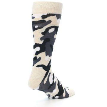 Image of Light-Khaki Grey Black Camo Men's Dress Socks (side-1-back-22)