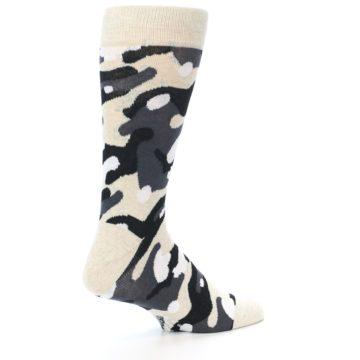 Image of Light-Khaki Grey Black Camo Men's Dress Socks (side-1-23)