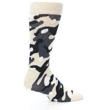 Image of Light-Khaki Grey Black Camo Men's Dress Socks (side-1-24)