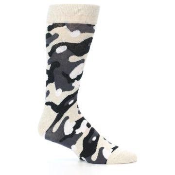 Image of Light-Khaki Grey Black Camo Men's Dress Socks (side-1-26)