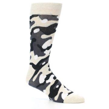 Image of Light-Khaki Grey Black Camo Men's Dress Socks (side-1-27)
