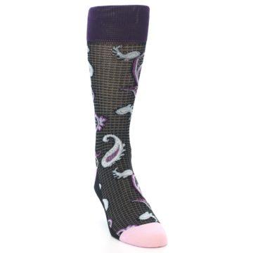 Image of Black Purple Light-Blue Paisley Men's Dress Socks (side-1-front-03)