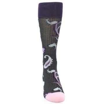 Image of Black Purple Light-Blue Paisley Men's Dress Socks (front-04)
