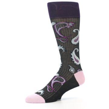 Image of Black Purple Light-Blue Paisley Men's Dress Socks (side-2-10)