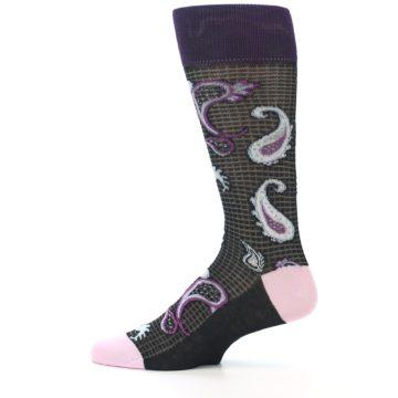 Image of Black Purple Light-Blue Paisley Men's Dress Socks (side-2-12)