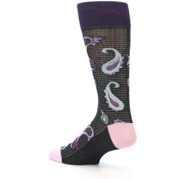 Image of Black Purple Light-Blue Paisley Men's Dress Socks (side-2-back-14)