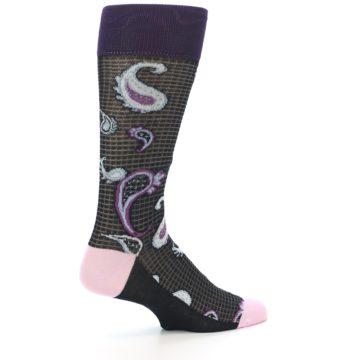 Image of Black Purple Light-Blue Paisley Men's Dress Socks (side-1-23)