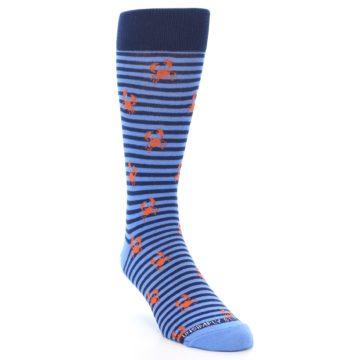 Image of Navy Blue Orange Crabs Men's Dress Socks (side-1-front-02)
