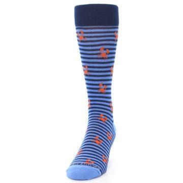 Image of Navy Blue Orange Crabs Men's Dress Socks (side-2-front-06)