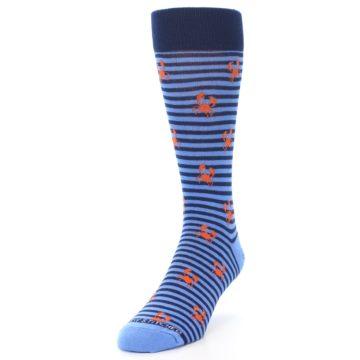 Image of Navy Blue Orange Crabs Men's Dress Socks (side-2-front-07)