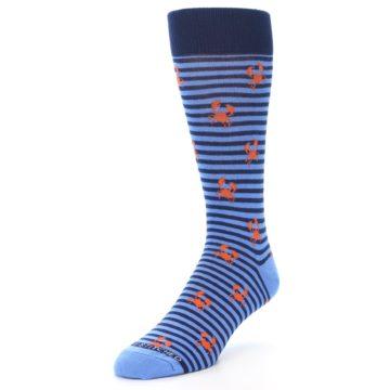 Image of Navy Blue Orange Crabs Men's Dress Socks (side-2-front-08)