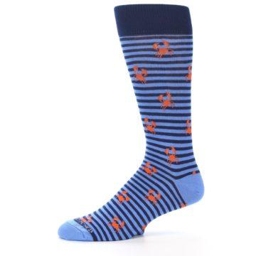 Image of Navy Blue Orange Crabs Men's Dress Socks (side-2-11)