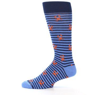 Image of Navy Blue Orange Crabs Men's Dress Socks (side-2-12)