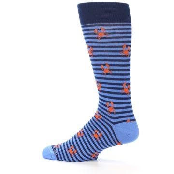 Image of Navy Blue Orange Crabs Men's Dress Socks (side-2-13)