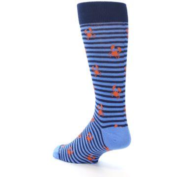 Image of Navy Blue Orange Crabs Men's Dress Socks (side-2-back-15)
