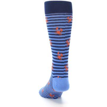 Image of Navy Blue Orange Crabs Men's Dress Socks (back-17)