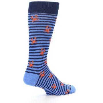 Image of Navy Blue Orange Crabs Men's Dress Socks (side-1-23)