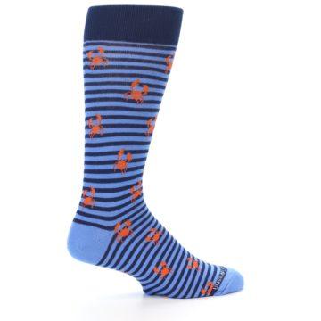 Image of Navy Blue Orange Crabs Men's Dress Socks (side-1-24)